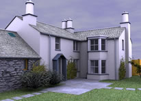 3D computer model of bay window extension to cottage nr Ambleside - click for larger image (67Kb)