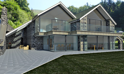 Rendered model view of cottage extension and new garage Ambleside
