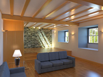 rendered interior model view of proposed Listed barn conversion at Coniston