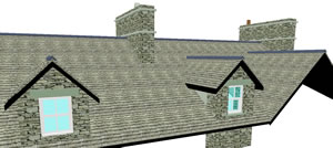 Copying dormers along a roof