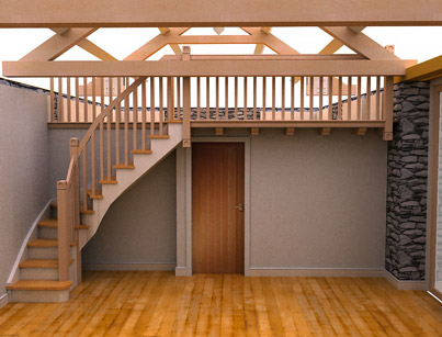 Barn conversion near Windermere, stairs to gallery