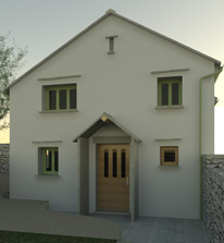 Rendered model view of new front to cottage