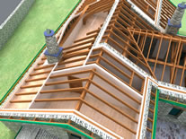 3D roof image and link to Works page