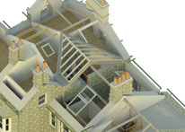 model view of roof cutaway to illustrate structural supports for alterations and extension to house nr Ambleside